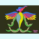種から鳥が翼を広げ勝利の葉を出している