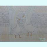 わたしの筆「2羽のアヒル20121105」